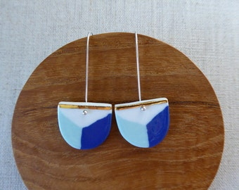 Shield Long Hook Earrings