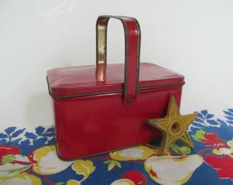 Vintage Red Metal Tin Box with Handle - Tindeco Red Tin - Red Decor - Studio Decor - Studio Storage