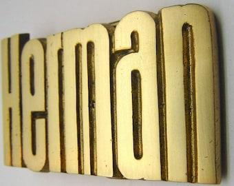 Vintage  Herman Brass Belt Buckle