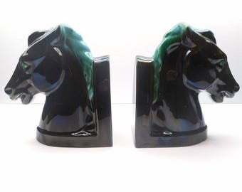 Vintage  Blue Mountain Pottery Horses Bookends