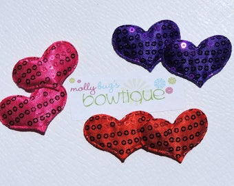 Sequin heart baby snap clip set