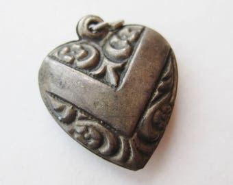 Vintage Charm Sterling Silver V for Victory Repousse Puffy Heart Bracelet Charm Pendant