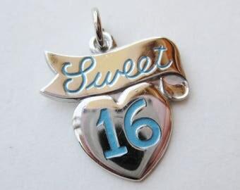 Vintage 50s Sterling Silver & Blue Enamel Heart Shaped Sweet 16 Bracelet Charm