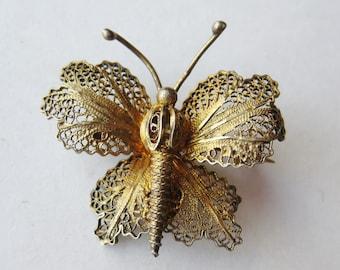 Vintage Topazio Fine Silver Filigree Gold Vermeil Butterfly Brooch Pin
