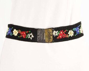 Size 10 Austrian Belt - 1930s 1940s Black Woven with Alpine Flowers Wool Embroidery - Waist 28.5 - Lanz of Salzburg - Metal Buckle - 48976