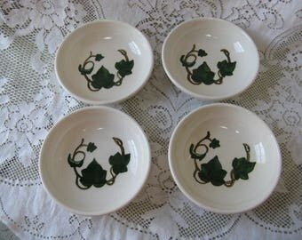 metlox poppy trail california ivy 5 inch bowls set of 4 hand painted mid century pottery