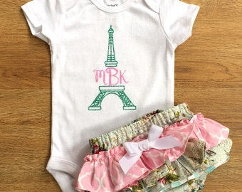 Paris Ruffle Bloomers with Eiffel Tower Monogrammed Onesie