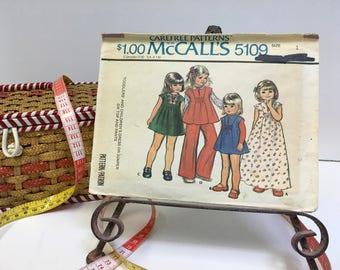 McCalls #5109 Sewing Pattern Jumper Dress Top Pants Vintage Toddlers Childrens