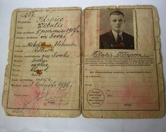 Polish vintage circa 1930s passport of man