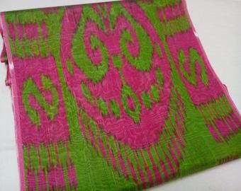 Uzbek traditional handwoven silk ikat fabric. F044