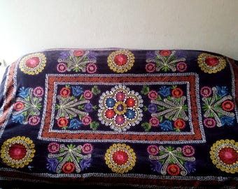 Vintage Uzbek silk embroidery on brown velvet suzani. Bed cover, wall hanging, home decor suzani. SW015
