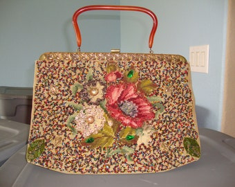 Vintage 60's SOURE' Bag New York Beaded Floral  Embroidered bag Handbag Purse