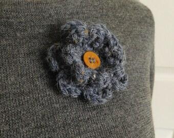 Crochet Flower Pin-Blue Flower Pin- Flower Brooch-Blue Crochet Flower-Crochet Flower with Button-Crocheted Pin-Blue Crochet Brooch