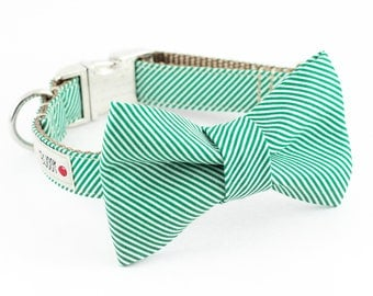 Green Pinstripe Bowtie Dog Collar