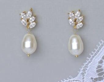 Gold Pearl Earrings, GOLD Crystal & Pearl Drop Earrings, Crystal Bridal Earrings,  Gold Bridal Jewelry, Wedding Jewelry, LILIANNE G