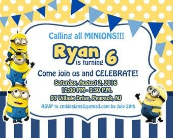 DIY print invites, Minion inviations, Minion birthday invites, diy print minion birthday party invitaitons, yellow and blue mionion invites