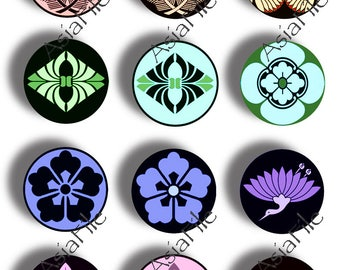 1 Inch Circles and 1.5 Inch Circles Digital Printable Asian Designs Japanese Crests Instant Downloads for Paper Crafts  TWO SHEETS CS 514