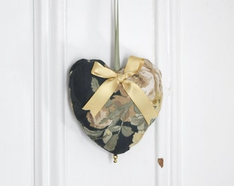 Fabric heart to hang Ashley Ornament Door hanger Gift Victorian Decoration Forest green Gold