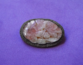 Old CHINESE Export Art Nouveau Flower Carved ROSE QUARTZ Brooch Pin Silver Copper