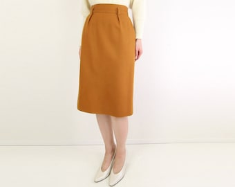 VINTAGE Mustard Pencil Skirt Wool 1980s