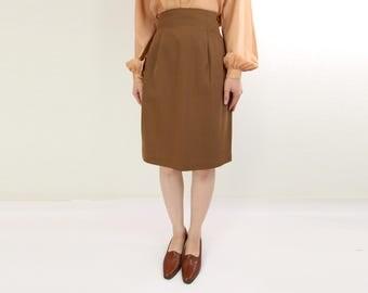 VINTAGE Pencil Skirt High Waist 1980s Brown