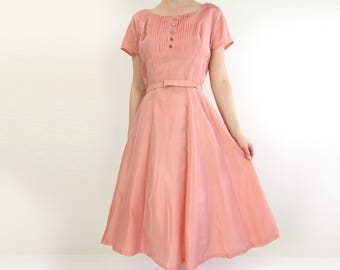 VINTAGE 1950s Pink Dress Taffeta Gown