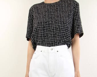 VINTAGE Grid Blouse Black White Top Shortsleeve Shirt