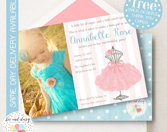 Tutu Birthday Invitation, Tutu Birthday Invitation, Tutu Party, Girl First Birthday, Girl Birthday, Printable Tutu Photo Invite