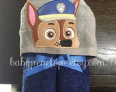 Paw Patrol - Chase-  Hooded Towel - Paw patrol Birthday gift - Paw Patrol Theme - Personalized Paw Patrol gift for boy
