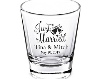 Wedding Shot Glasses - Wedding Favors - Shot Glasses - Just Married Shot Glasses - Bachelorette Party - and they lived - Custom Shot Glasses