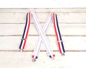 Vintage red/blue/white striped wide stretch suspenders/canvas clip suspenders/striped braces