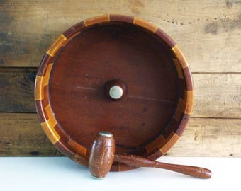 Vintage Wood Nutcracker Bowl with Mallet / Standard Specialty Co / San Francisco / California Redwood Forest