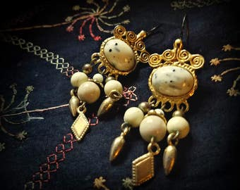 White and Gold Ethnic Earrings