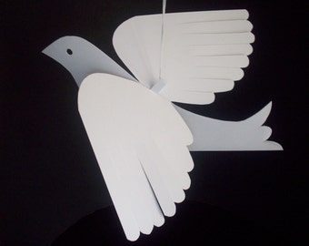 Paper Birds--Six Medium White Paper Doves