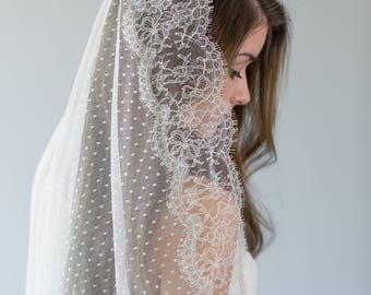 Mantilla Veil, Ivory Lace Wedding Veil, Dotted Circle Veil, Polka Dot Bridal Veil, Swiss Dot Veil