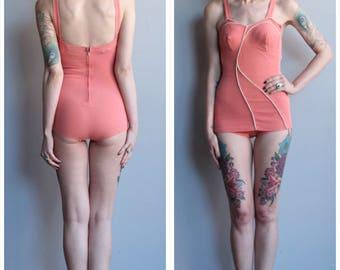 Late 1940s Swimsuit // Ceeb Coral Knit Bathing Suit // vintage 40s swimsuit