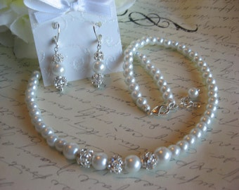 Pearl and Rhinestone Bridal Necklace and Earring Set/Wedding Jewelry/Bridesmaid Jewelry/Bridal Jewelry