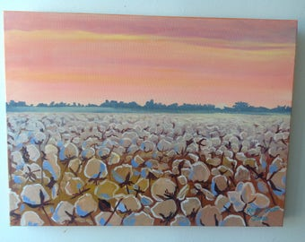 Autumn Cotton | Louisiana Cotton Bolls | 18 x 24 inch Impressionist | Landscape | Cotton Farm Art | Original Oil Painting farm southern