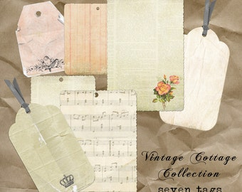 Vintage Old Style Paper Tags digital kit. Individual files and sheets. Commercial Use okay. Scrapbook invitations supplies cardmaking
