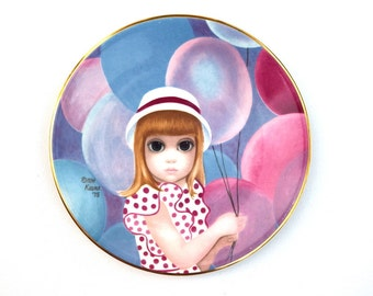 Big Eyes collectors plate The Balloon Girl Margaret Keane 1976 first limited edition  English ironstone Crown Ducal vintage plate