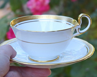Teacup and saucer Aynsley England bone china white gold teacup collectible teacup tea gift for her party anniversary housewarming gift