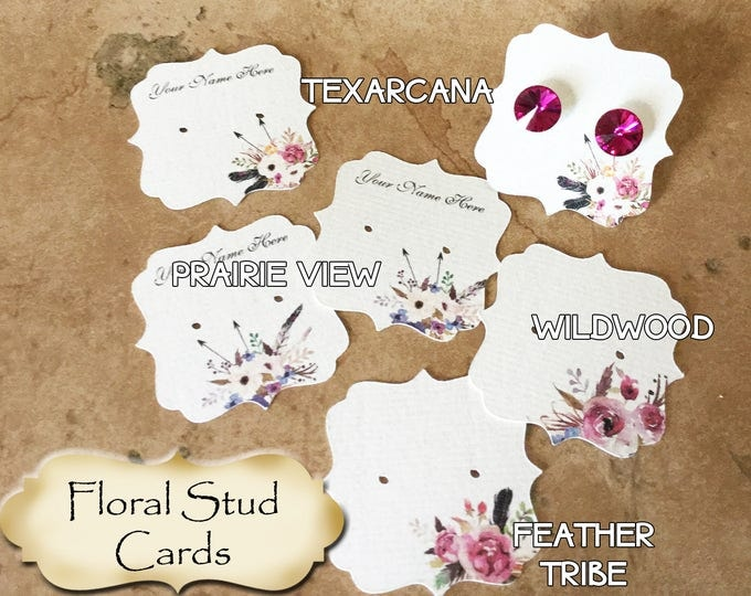 60•2 x 2•Floral•STUD•EARRING Cards•Jewelry cards•Earring Display•Post Earring Card•Stud card•stud card 5