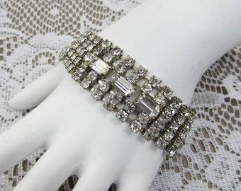 "Rhinestone Bracelet - 1"" wide 5 row rhinestones in silver tone setting -  7-1/4"" - 1950s-60s evening party bracelet"