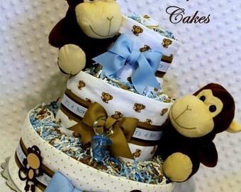 Monkeys Baby Diaper Cake Shower Gift Centerpiece Boys Twins