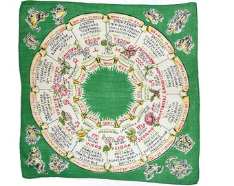 VINTAGE HANKIE Zodiac Signs Wheel on Green Red Black Lettering Months Horoscope Birthday Soft Cotton Corded Edge Excellent Condition
