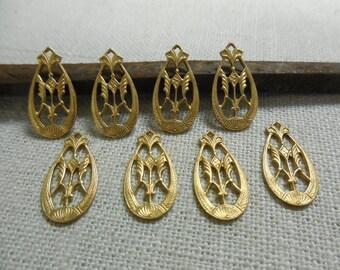 Brass Deco Drop Decorative Earring Dangle Open Design Pretty Relic Charm