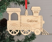 Christmas Ornament: Wood Train Personalized Name 2016