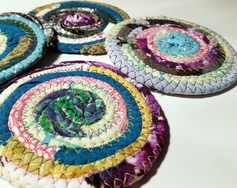 Fabric Coasters Multicolors, Set of 4, Handmade, Braided Rug Style, Coiled Rope, Hippie, Unique Cloth Drink Coasters, Boho Kitchenware