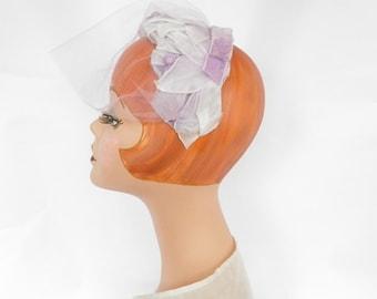 Vintage lavender halfhat, 1950s hat, velvet ribbon