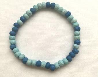 Blue and Light Blue Stretch Bracelet